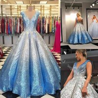 Ombre Prom Dresses 2019 Ball Gown V Neck Cap Sleeves Quinceanera Draped Skirt Backless Formal Party Event Gowns Mother Daughter G