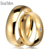 Wedding Rings 1 Pair 6mm CZ Stone Set For Women Polish Dome Men Gold Color Titanium Steel Couples Marriage Band