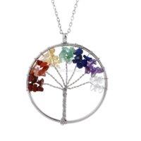 Colorful Chakra Natural Stone Tree of Life Necklace Crystal Heart Pendant Donne Collane gioielli di moda gioielli di moda e regalo sabbioso