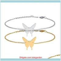 Jewelryanimal Butterfly Bracelet Bangles Fashion Gold Color Stainless Steel Charm Bracelets For Women Jewelry Braclets 1 Drop Delivery 2021