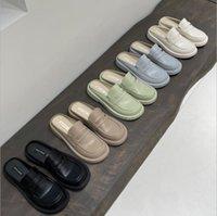 مصمم أحذية نسائية Baotou نصف مقطورة المتسكعون النساء 2021 سميكة سوليد المطاط لينة وحيد ارتداء النعال