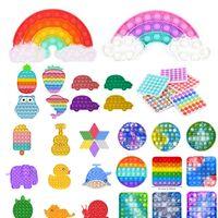 Tiktok Rainbow Push Push Fidget Toy Sensory Push Bubble Fidget Sensory Autismo Richiedi speciali Ansia Stress Stress Reliever per Ufficio lavoratori fluorescen regalo DHL nave