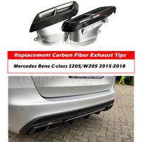 1 accoppiamento in fibra di carbonio Akrapovic scarico silenziatore auto tiraggio auto punta per Mercedes Benz CLASSE C W205 / S205 Modifica a C63