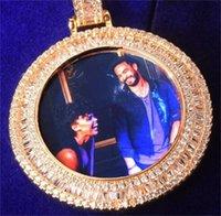Baguette trasero sólido Memoria redonda imagen Foto colgante Collar de tenis Micro Pave Charm Hombre Hip Hop Rock Jewelry 116 m2