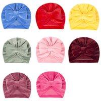Newborn Baby Girls Solid Color Velvet Hats Kids Children Winter Autumn Headwear Caps Fashion Hair Accessories