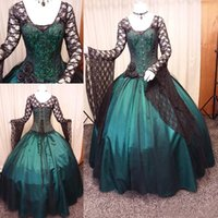 Vintage Black and Green Gothic Wedding Dress Long Sleeve Steampunk Victorian Whitby Goth Lace up Plus Size Wedding bridal gown