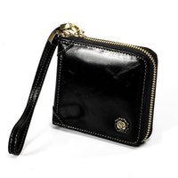 Wallets Men Women's Leather Wallet Classic Coffee Mini Card Holder Male Walet Pocket Retro Purse High Quatily Zipper Wristle Bag