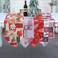 Fournitures de fête Décorations de Noël créatives Drapeau Drapeau Tissu Plaid Tissu Calico Runner Européenne et Américaine Restaurant Tapis de famille