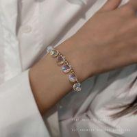 Link, Chain Bangles Woman Colorful Crystal Bracelets Women Beaded Bracelet Geometric High Quality Light Luxury Fashion Silver Color Armband