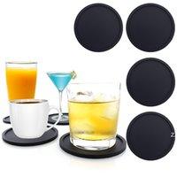 Redondo Silicona Bebida Negro Resistente al calor Posavero Taza Soft Cup Mat Impermeable Protector antideslizante Té Mesa de Té Mats Bar Coster HWD8389