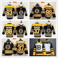 Männer Dame Jugend Boston Bruins Jersey Eishockey 37 Patrice Bergeron 63 Brad Marchand 88 David Pastrnak Frauen Trikots Schwarzer Mann Kinder Kinder Uniform Hemd