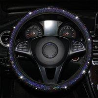 Cubierta de la cubierta del volante del automóvil Bling Universal 37-38cm Carcasa protectora de la rueda de dirección para las mujeres Girls Auto Estilo Accesorios Cubiertas