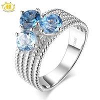 Bagues de mariage Hutang Pierre Naturelle Bleu Topaze Bague Solide 925 Sterling Sterling Fine Gemstone Jewerly pour le cadeau des filles pour femmes Nouveau