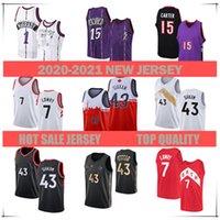 Erkekler 2021 Basketbol Forması 1 Tracy McGrady15 Vince Carter43 Pascal Siakam 7 Kyle Lowry