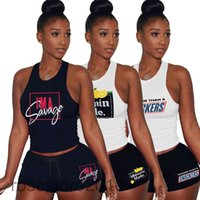 플러스 사이즈 스트리트 스타일 여성 스포츠 새로운 Tracksuits 여름 두 조각 세트 문자 번호 인쇄 민소매 티셔츠 숙녀 조깅 장비