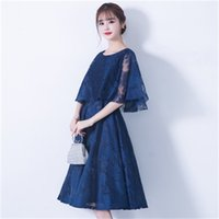 Banquet evening dress 2021 summer new navy fashionable mid length slim party