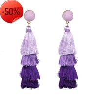 Orecchini nappa moda colorati a strati variopinto bohemien dangle dondolo a goccia filo thread donne regali gioielli dropshipping