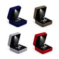 쥬얼리 파우치, 가방 유행 LED 조명 커프스 단추 링 저장 상자 웨딩 디스플레이 케이스 선물 포장 작은 부품 픽업 액세서리