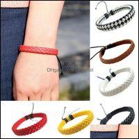Charm Bracelets Jewelrysimple Braided Bracelet Pu Leather Men Women Punk Wristband Bangles 8@881 Drop Delivery 2021 Tpxcz
