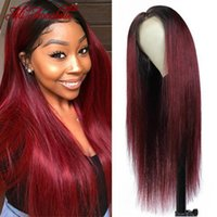 Lace Wigs 1B99j Red Burgundy Front Wig Ombre Colored Human Hair For Women Remy 13x4 Frontal 180% Pre Plucked