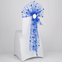 50pcs/Lot White Black Flower Lace Bow Sash For Tiffany Chair Cover Sashes Wedding Banquet Party