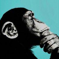 Maymun Ev Dekor Tuval Üzerine Büyük Yağlıboya El Sanatları / HD Baskı Duvar Sanatı Resimleri Özelleştirme Kabul Edilebilir 210430