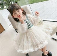 Sweet Girls lace tulle tutu dresses kids gauze snow flowers embroidery princess dress children birthday party clothing Q1031