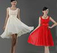 New Cheap New Cheap Scoop Free Ship Chiffon Ruffle Zipper Short Bridesmaid Dress Party Dress