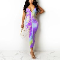 Casual Dresses Abstract Printed Sleeveless Zipper Front Dress Slim Bodycon Party