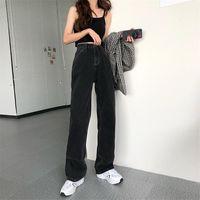 Limiguyue High Cintura Jeans Negros Moda Forme la pierna recta Jean Casual Denim Pants Streetwear Mamá Harajuku Pantalones K844 Mujeres