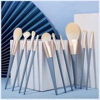 10pcs Blue Cosmetic Makeup Brushes Set for Foundation Blending Blush Eyeliner Face Powder Beauty Brush Tools