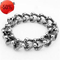 Vecalon Antique Stainless Steel Bracelet 22cm Big Silver Men's Full Skeleton Skull bracelet Ghost bangle Biker Punk Jewerly Gift
