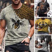 Bee Pattern 3D Печатная футболка Визуальный удар Сторона Рубашка Панк Готические круглые Шены Качественные американские мышцы Стиль с короткими рукавами