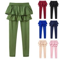 Yoga Outfits Children Skirt Pants Kids Girls Leggings Lovely Cake Culottes Autumn Casual Athletic Trouser Solid Sport Dance