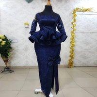 Navy Blue Prom Dress Mermaid 2022 Long Sleeves robe de soirée mariage Aso Ebi Evening Party Gowns Custom Size