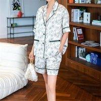 Leisure Flower Ice Silk Pajamas 2 Piece Suit Home Clothing Soft Thin Short Sleeve Shorts Women Sleepwear Set