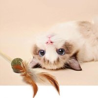 Cat Toys Catnip Interactive Teaser With Wood Rod Ball Funny Feather Pet Eco-friendly Training Tool