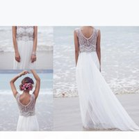 Sparkly Bohemian Beach Wedding Dresses 2019 Silk Chiffon Hand Beaded Crystal Bling Boho Vestido De Novia White Ivory Bridal Gowns