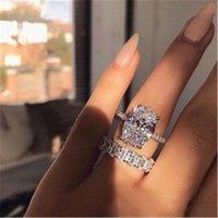 2021 Vecalon Classic 925 Sterling Silber Ring Set Oval Cut 3ct Diamant CZ Engagement Hochzeit Band Ringe für Frauen Bridal Bijoux