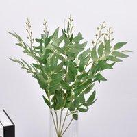 Dekoratif Çiçekler Çelenk 1 Şube Yapay Söğüt Ipek Sahte Yeşil Faux Yeşillik Yaprakları Ev Düğün Bitki Orman Dekorasyon Parti Duvar