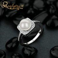 Reaytrust trendy 7mm rotondo perla anelli di diamante per le donne argento 925 gioielli matrimoni band promessa anello anello da sposa regalo di compleanno cluster