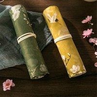 Kalem Çantaları Vintage Çin Rüzgar Kılıfı Taşınabilir Kırtasiye Kalem Tutucu Makyaj Fırça Tuval Saklama Çantası Okul Ofis Malzemeleri