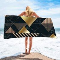 Serviette de plage en microfibre rayé léopard rapide serviettes sèches rectangulaires design géométrique en plein air Camping salle de bain couverture de chaise de chaise DDA6372