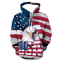 Men's crew neck Pullover 3D printing American Flag Eagle Hoodie sweater large men