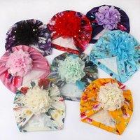 19 * 18 cm Yumuşak Nefes Bebek Kız Baskı Kapaklar Moda El Yapımı Çiçek Bebek Şapkaları Altın Noktalar Ile Çocuklar Şapkalar 8 Renkler