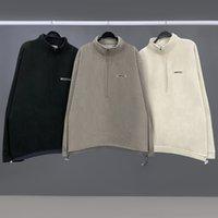 Sis Essentials Kış Moda Hiphop Hoodie Çift Hattı Gelgit Marka Yüksek Sokak Polar Polar Yarım Fermuar Kazak Gömlek Erkekler Kadınlar WGWY221