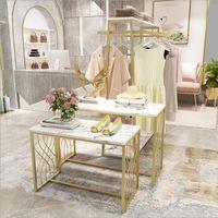 Tienda de ropa Tabla de mesa Exhibición Mueble Comercial Muebles Isla Doble fila de oro Bolsa de zapatería Muestra tablas