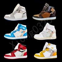 Ow Joint Basketball Shoes Chacigo Jumpman 1s Edição Limitada Colaboração de Aniversário Desligado Francês Estilo De Moda Marca Kim Jones Sneakers Tamanho 36-46