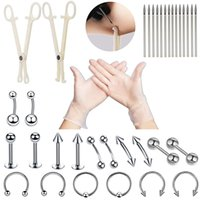 Professional Piercing Tool Kit Sterile Piercing Needles Clamp Belly Ring Tongue Tragus Nipple Lip Eyebrow Nose Ring Body Jewelry
