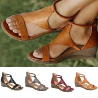 Sandals Summer Slope-heel Ladies For Casual Outings Open-toe Zippers High-heeled Shoes